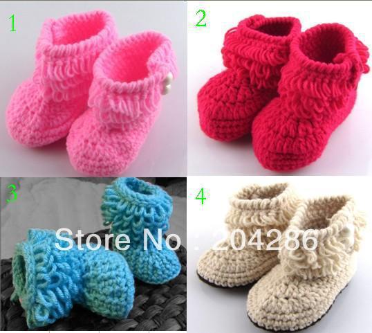 10% off! 3 pares/lote! Main crochet chaussures, Haute qualité bottes de neige bébé chaussures * gland, Pas cher plat bambin chaussures, Doux shoes.3pairs(China (Mainland))