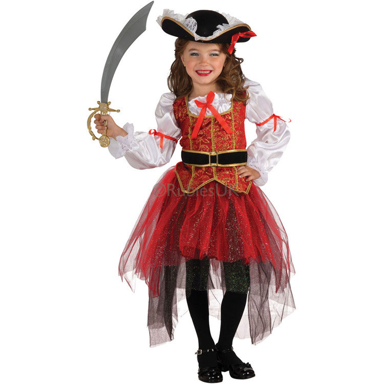 babzapleume Brand 4PCS/Set Girls Autumn Clothes Long Sleeve Children Clothing Baby Skirt Halloween Cosplay Pirate Costume Y001