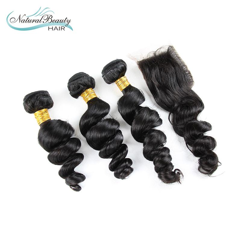6A malaysian virgin hair loose wave 3 bundles with closure human hair weave virgin malaysian loose wave hair bundles<br><br>Aliexpress