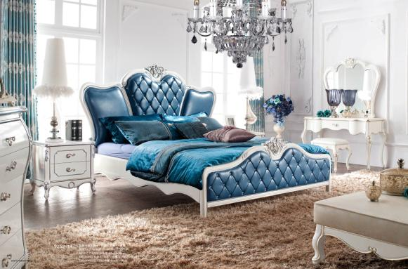 2016 Newest Design White/Silver foil Sofa Bedroom Furniture Queen Bed Frame(China (Mainland))