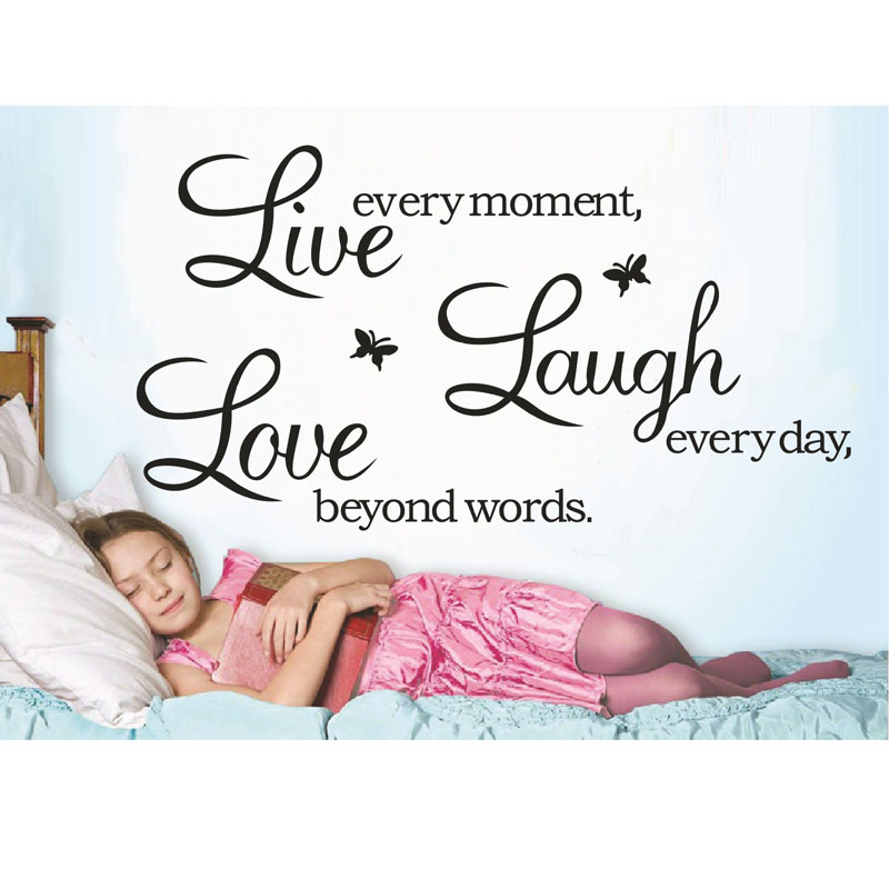 2015 free shipping live every moment laugh everyday size 64.2*38.1cm Waterproof large black Memorial wall stickers wall[papers(China (Mainland))