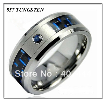 USA Hot Selling Wholesales Cheapest Price 20pieces /lot Free Shipping 8mm Mens Ring Heavy Tungsten Ring With Blue Fiber&amp;Zircon<br><br>Aliexpress