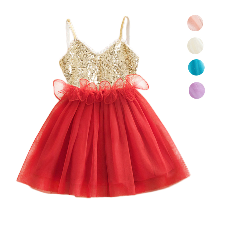 2016 Summer Children Dresses Sequined Lacy Princess Dress For Girls Baby Kids Bridesmaid Dress Party/Wedding Clothing Vestidos(China (Mainland))