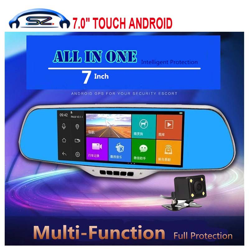 "7.0"" IPS Touch Android 4.4 car dvrs Rearview mirror video recorder Car DVR Dual Camera GPS camera parking e-dog Dual Lens wifi(China (Mainland))"