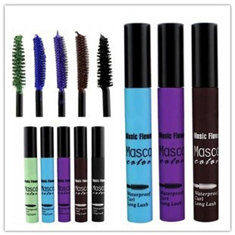 5PCS New Arrival Brand Colourful Eye Mascara Makeup Long Eyelash Silicone Brush Curving Lengthening Colossal Mascara Waterproof(China (Mainland))