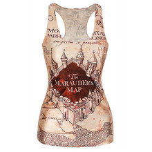 Women Casual Multi-Color Gothic Punk Clubwear  T-Shirt Print Tank Top Vest Blouse(China (Mainland))