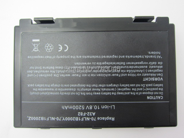 5200mAh 6 cells battery for Asus k50ij k50ab a32 f82 k50id k42j k40in k50in F52 F82 K40 K50 K40E K51 K60 K70 A32-F52 A32-F82(China (Mainland))