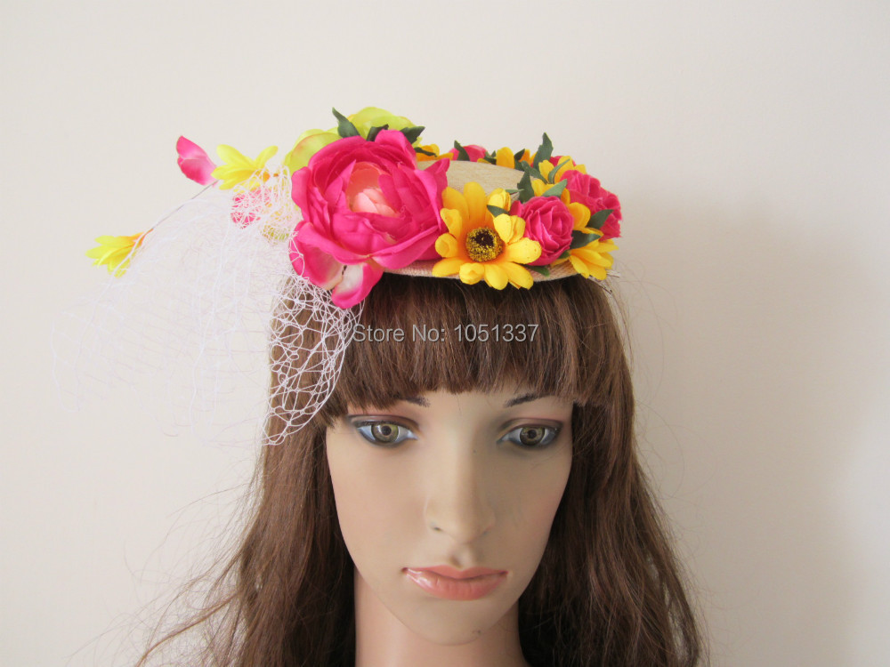 FREE SHIPPING!! Amazing Multiple Colours Red Yellow Green Mixed Bridal Hat Fascinator Clip Wedding Fascinator Multiple Colours(China (Mainland))