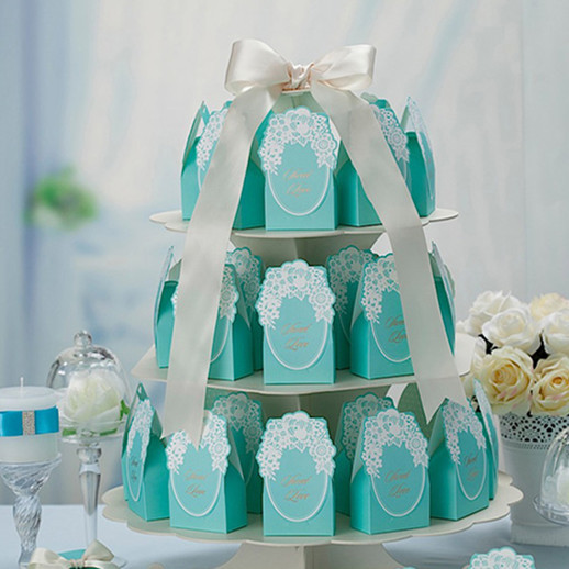 100 Pcs Free Shipping Tiffany Blue Candy Box With White Lace Casamento Wedding Decoration Wedding Favors and Gifts Candy box(China (Mainland))