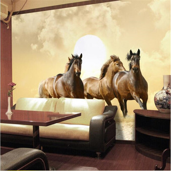 High quality flash cloth photo wallpaper 3d perspective galloping horse hotel bedroom living room sofa painting mural wallpaper