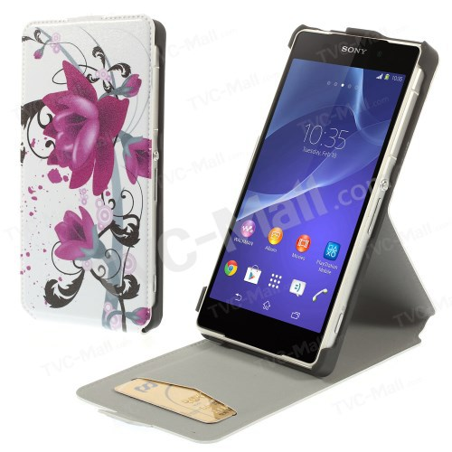 Vertical Elegant Lotus PU Leather Flip Cell Phone Case Accessories For Sony Xperia Z2 D6502 D6503 D6543 Card Slot Free Shipping(China (Mainland))