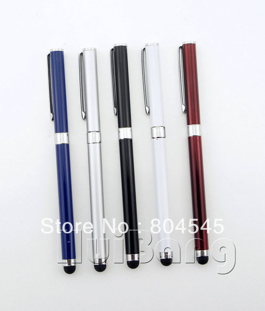 100pcs/lot Mix Color Business Capacitive Screen Metal Stylus Touch Pen With Clip For iphone Samsung HTC Phone Tablet PC P36