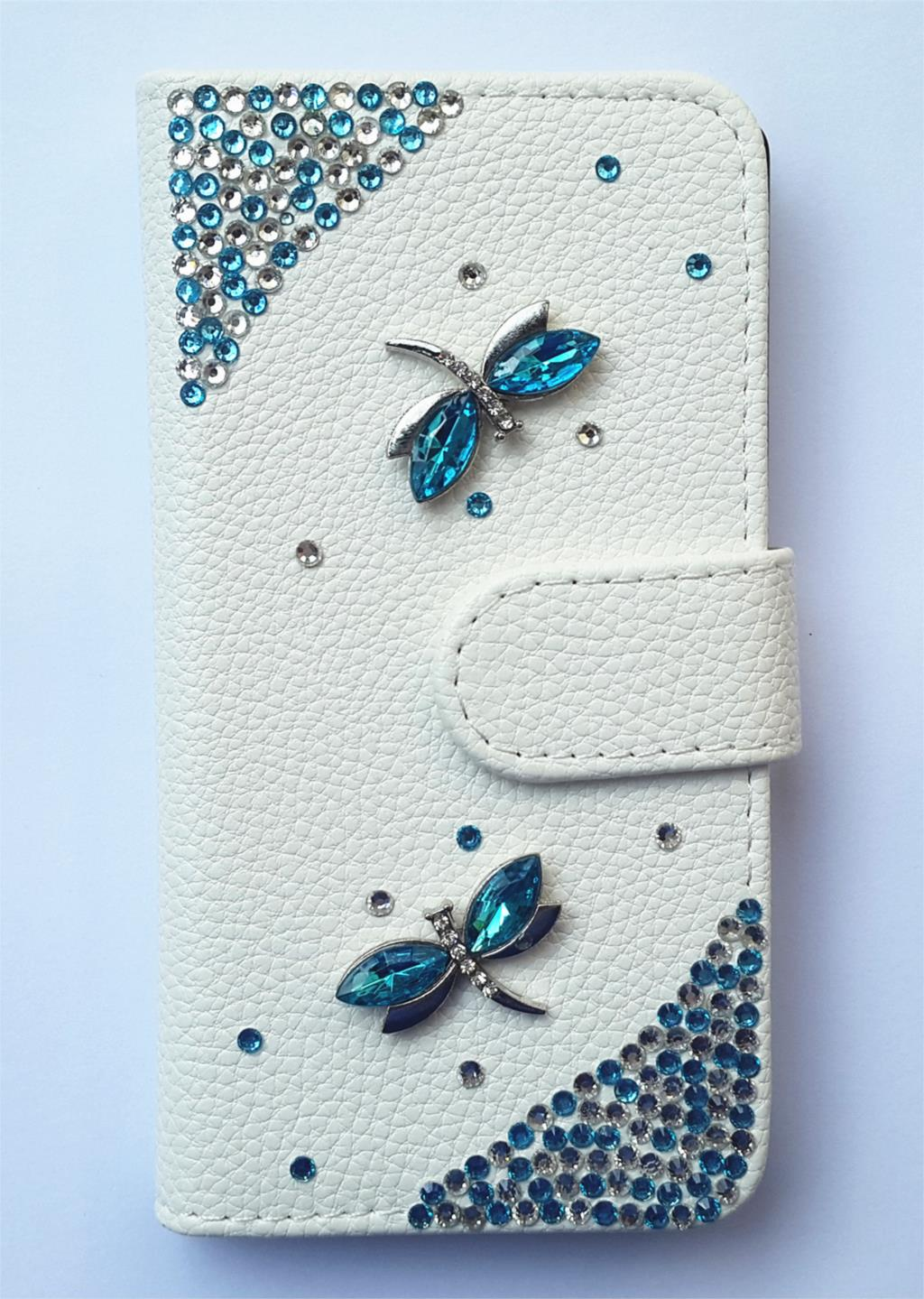 Crystal Dragonfly Wallet Card Holder PU Leather Flip Case Cover for Sony Ericsson XPERIA X10 X10i(China (Mainland))