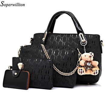 Soperwillton Famous Brand Women Bag Brand 2016 Fashion Women Messenger Bags Handbags PU Leather Female Bag 4 piece Set #150