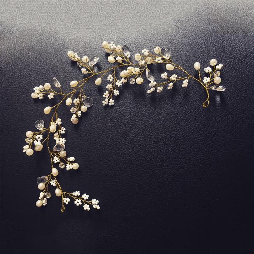 gold hairbands wedding tiara pearl wedding crown 29cm headbands bridal hair accessories head jewelry wedding hair accessories(China (Mainland))