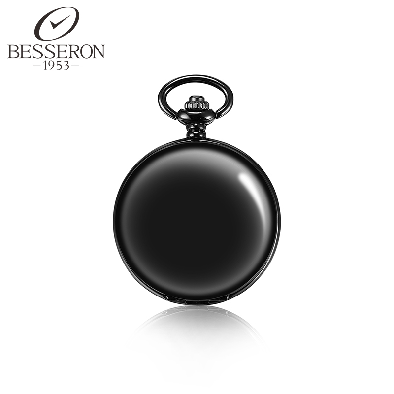 Reloj De Bolsillo Automatico Hand Wind Clock Men Pocket Watch Chain Mechanical Steampunk Vintage Black Pendant Antique Style(China (Mainland))