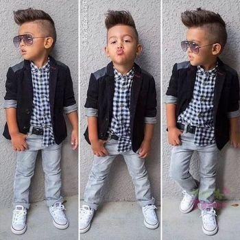 2015 retail Autumn 2-6Y Fashion Boys Clothes 3pcs children clothing set plaid shirt+suit+casual pants