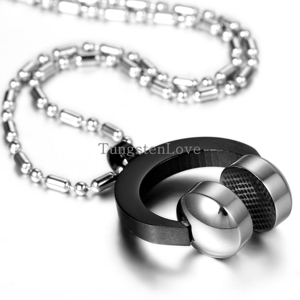 2015 New Wholesale Stainless steel Headset pendant Necklace Fashion Necklace Stainless Steel Jewelry Mens The trend of music(China (Mainland))