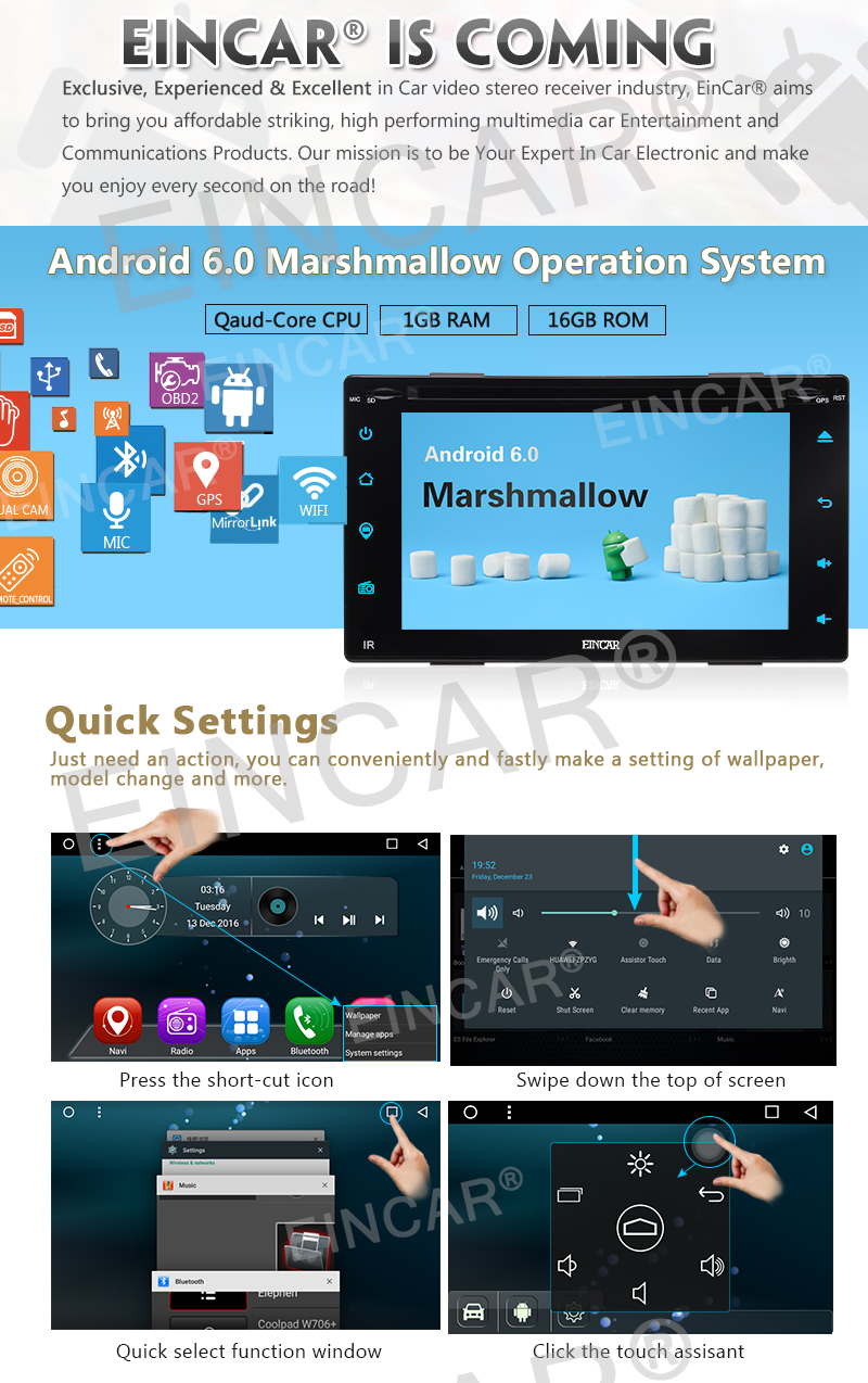 """Free Reversing Camera+Android 6.0 Double Din Car DVD Player 6.2"""" Touchscreen In Dash GPS Navigation Car Stereo Radio Receiver S"""