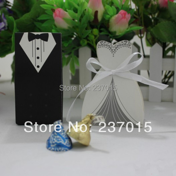 New 100Pcs Bridal Gift Cases Groom Tuxedo Dress Gown Ribbon Wedding Favor Candy Box(China (Mainland))