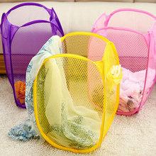 Random Color Folding Nylon Mesh Laundry Basket Washing Basket Dirty Clothes Basket Laundry Clothes Storage Basket 30*30*50cm(China (Mainland))