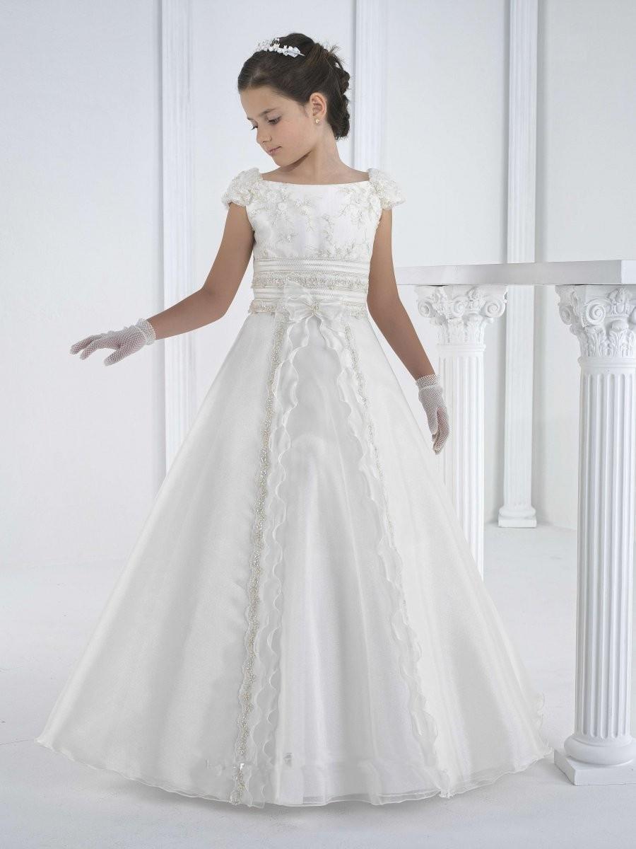 2015 first communion dresses floor length princess white flower girl dresses girls white communion dresses vestidos de comunion(China (Mainland))