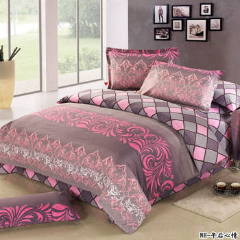 Active 100% cotton four piece set 100% cotton bedding slanting stripe print