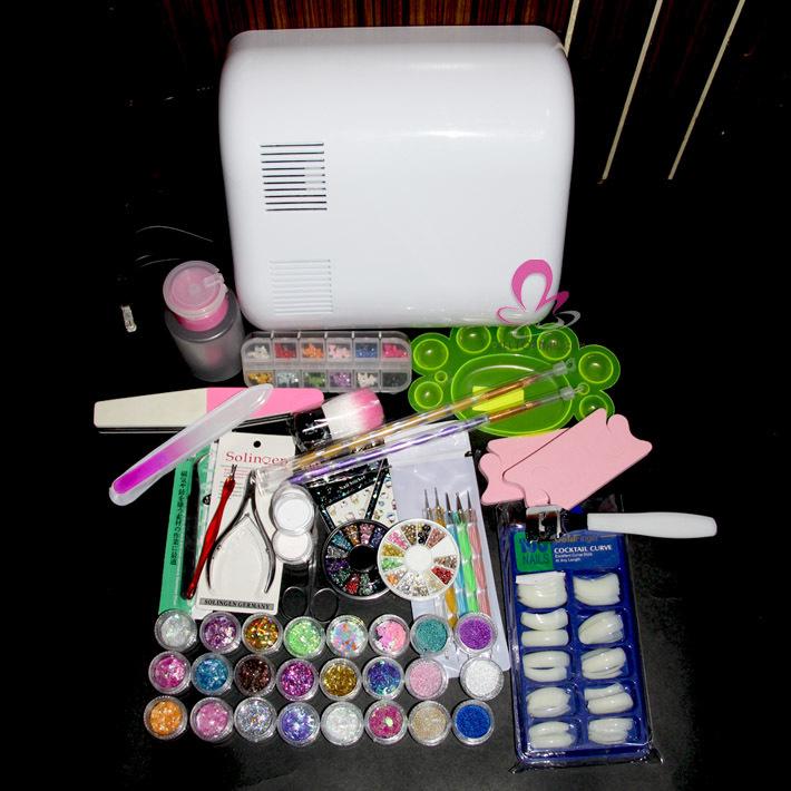 Nail Sets Kits Full 36W UV Lamp Dryer Nail Art Care Tool Acrylic Powder Tips Glitter Nail supplies(China (Mainland))