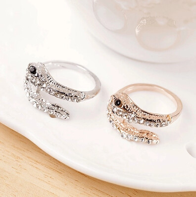 Promotion! ! Fashion lady women jewelry punk exaggerated full sparkling rhinestone snake alloy finger rings SR350 - Shero Shop(Min,order $ 10+Gift store)