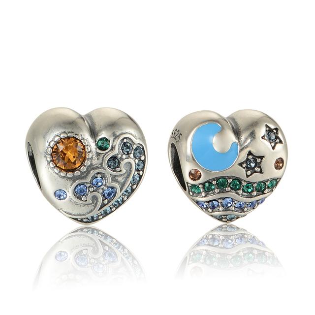 925 - серебристо-ювелирные бусины т в форме сердца с луны и звезда проложить CZ Fit пандора неповторимое очарование браслеты серебро 925 DIY