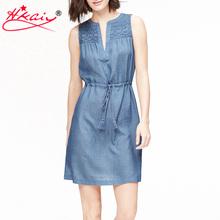 Hkaiy New Summer Style Casual Women Denim Jeans Sleeveless Dresses Tunic Waist Tank Super Mini Dress Vestidos, Blue, S, M, L(China (Mainland))
