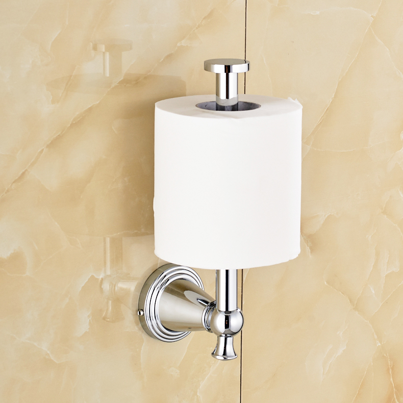 Wall Mount Upright Toilet Paper Holder Roll Tissue Bracket
