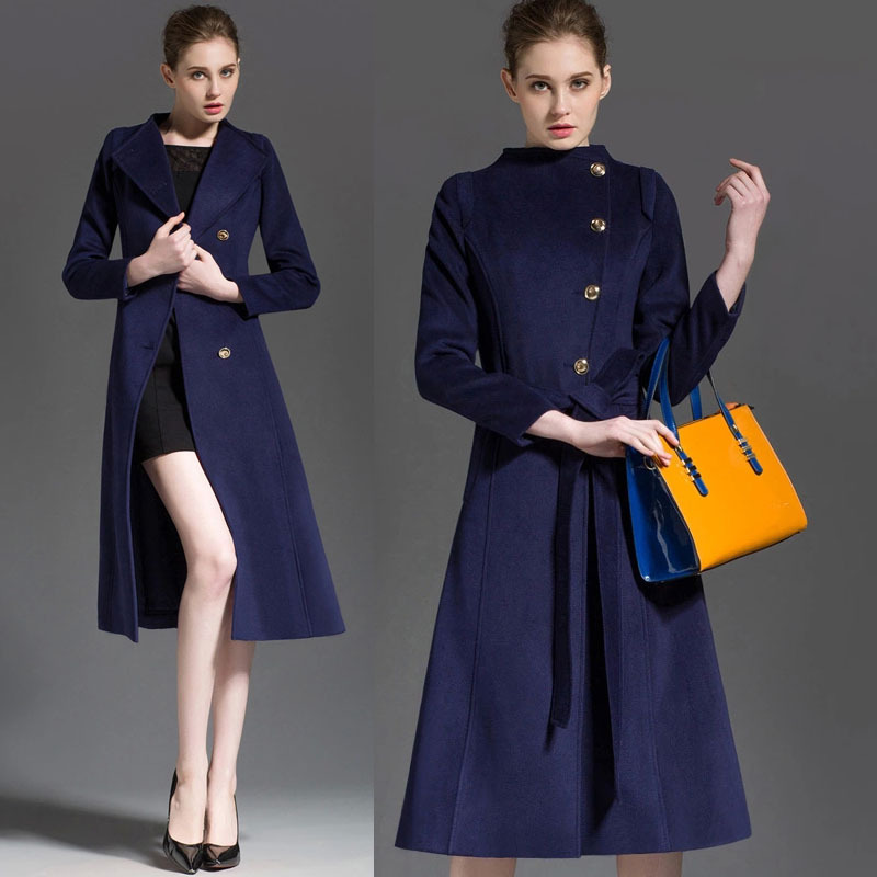 2015 Autumn Fashion Elegant Womens Yellow Blue Long Sleeve Woolen Trench Coat Fall Winter Casual Stand Collar Female Wool Coats(China (Mainland))