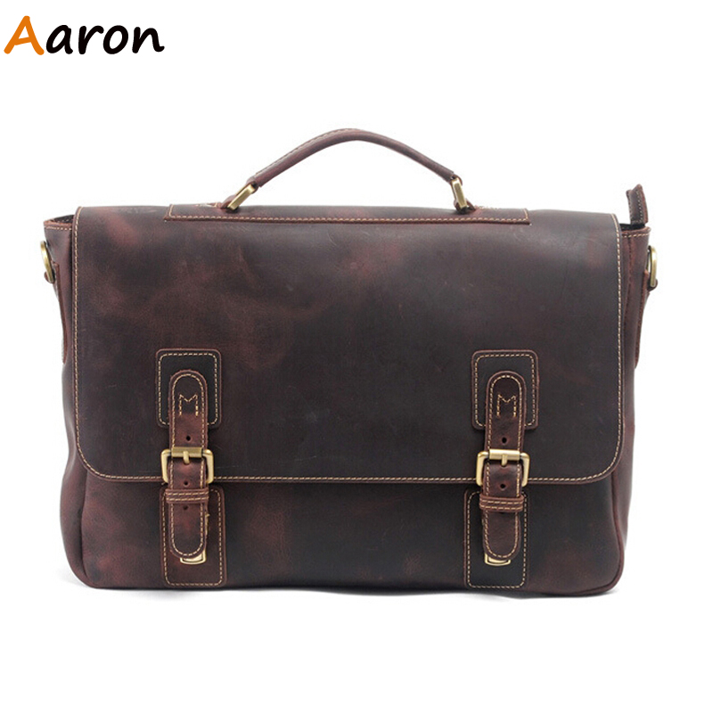 Aaron - Luxury 100% Full-grain Leather Handmade Solid Men Briefcase,Retro Coffee Horizontal Business Laptop Sacoche Homme Online<br><br>Aliexpress