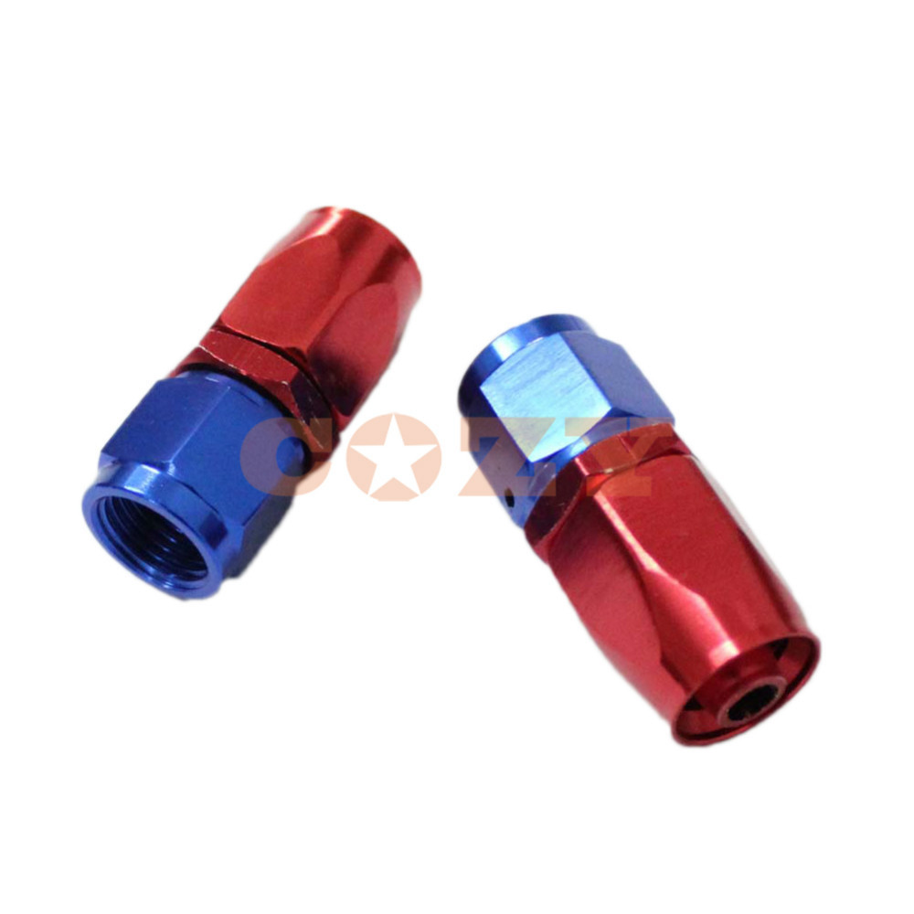 6 AN Straight Aluminum Braided Steel Hose End Fitting Oil/Fuel/Water Line (2pcs)(China (Mainland))
