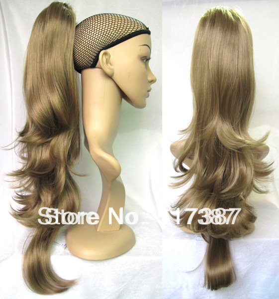 22 inch Claw Ponytail Hairpieces Long Wavy Hair Extensions Synthetic Tail #K18TA Light Brown Pony - Terry Xu's store