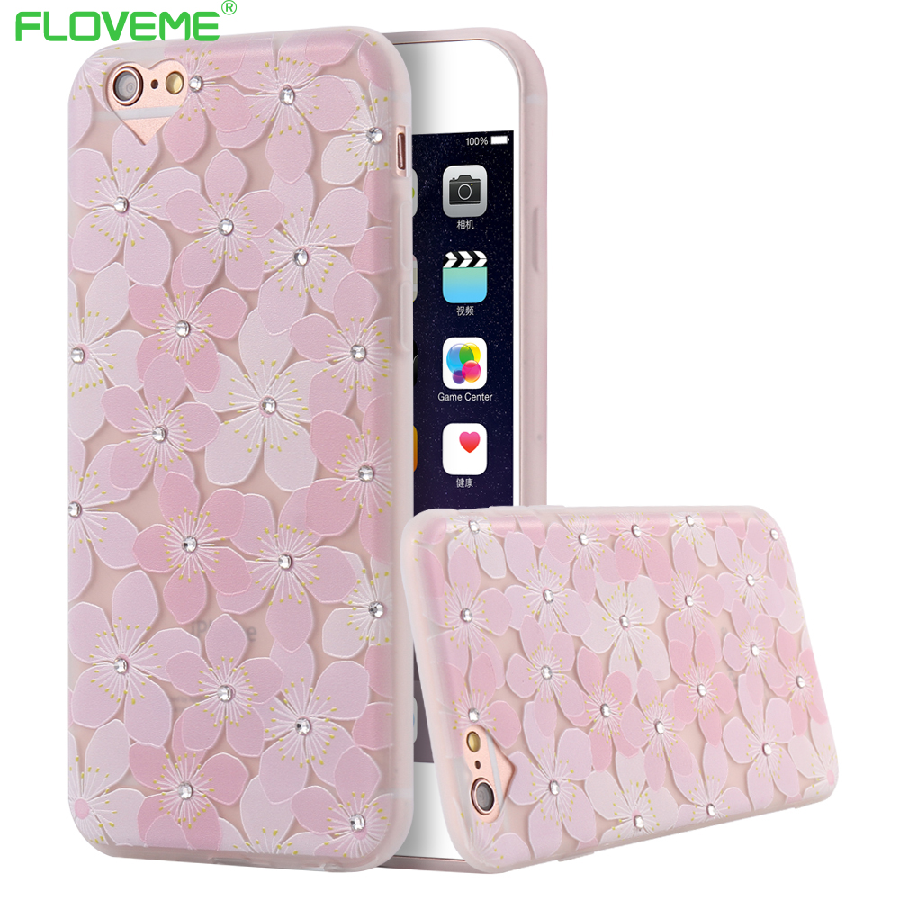 Luxury Phone Cases For Iphone 6 6s Plus Women Girly Cute Floral Glitter Rhinstone Case Soft TPU Pink Case Cover Flower Dust Plug(China (Mainland))