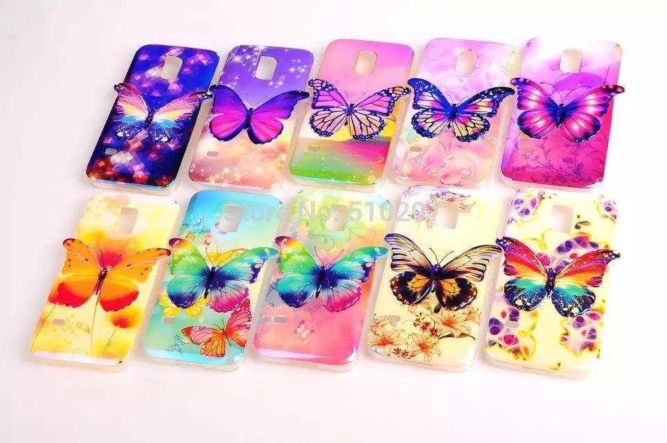 Butterfly 3D Design TPU Silicon Phone Case Shell Samsung GALAXY S5 mini Back Cover Skin S5mini G800
