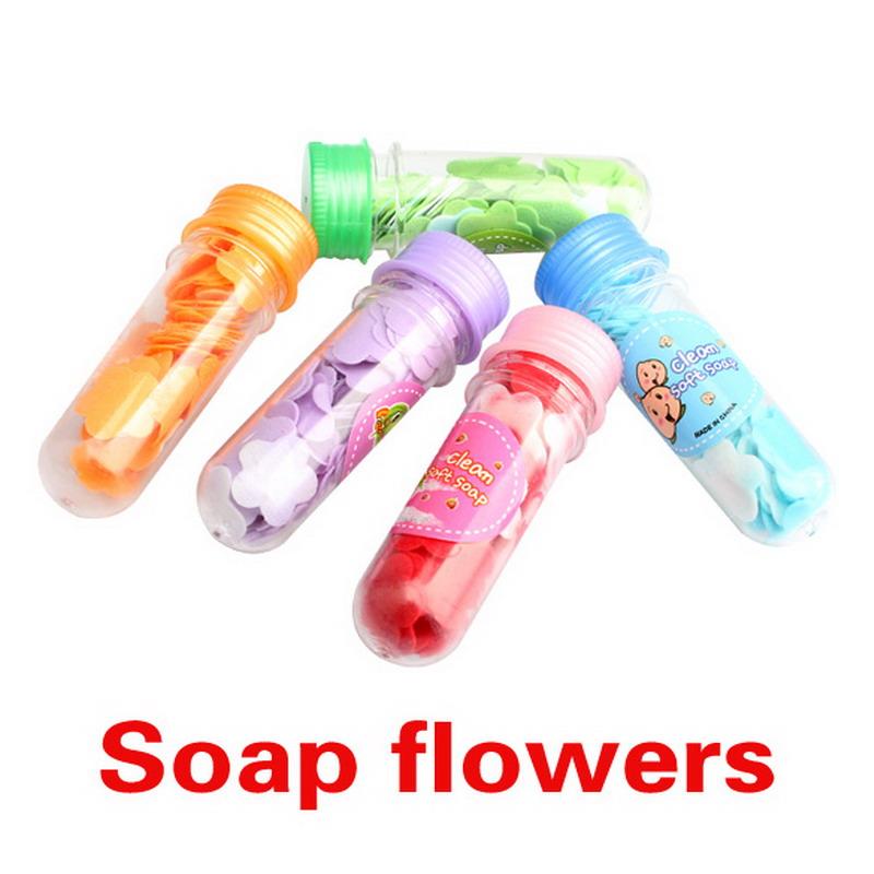 Free Shipping 1 PCS Bath Body Soap Rose Petal Wedding Gift Favor Colors Flower Soap K5BO(China (Mainland))