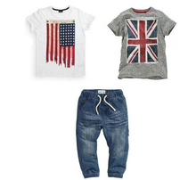 TZ303,summer style kids clothes set,Children's clothing  white/grey British American Flag 3Pcs(T-Shirts+Jeans) Boys T-shirt suit(China (Mainland))