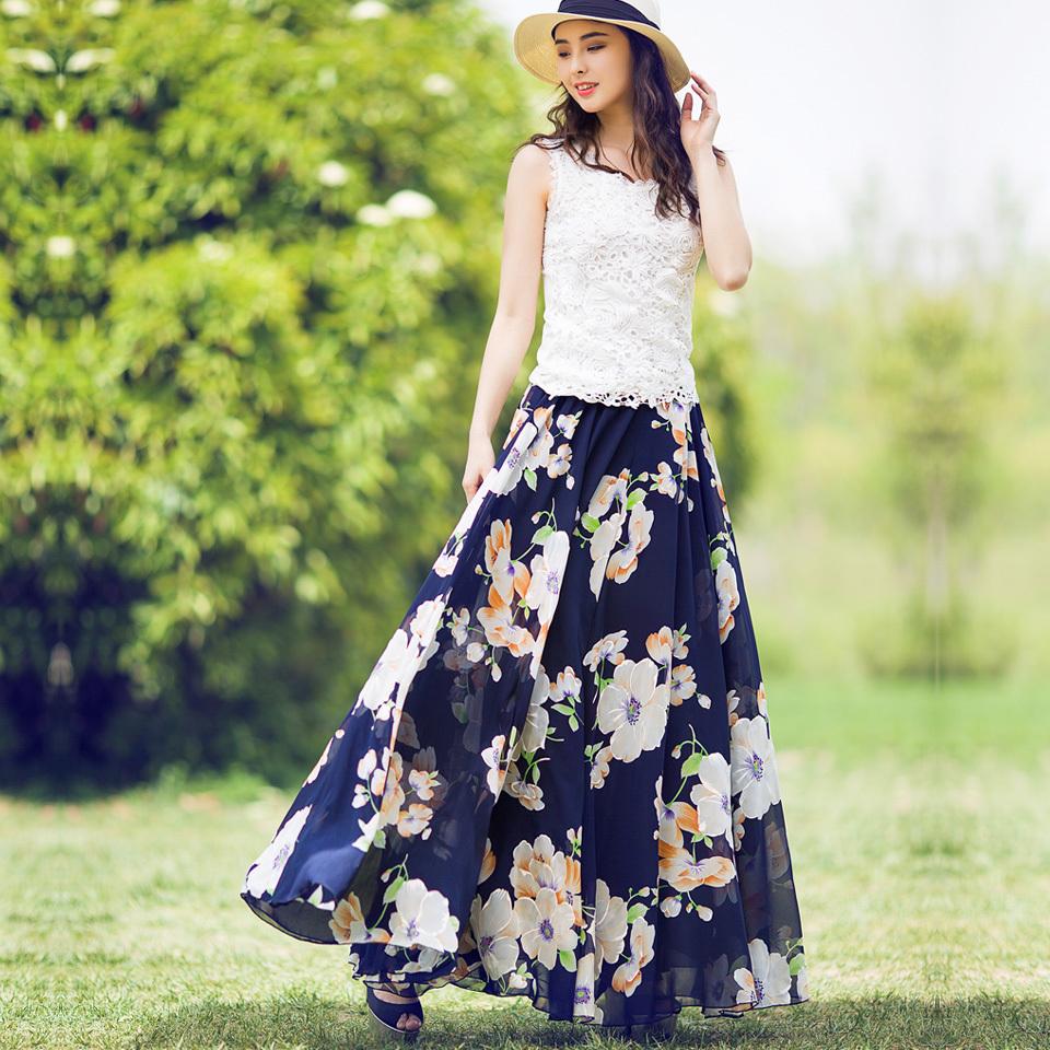 Online Get Cheap Flower Chiffon Maxi Skirt -Aliexpress.com ...