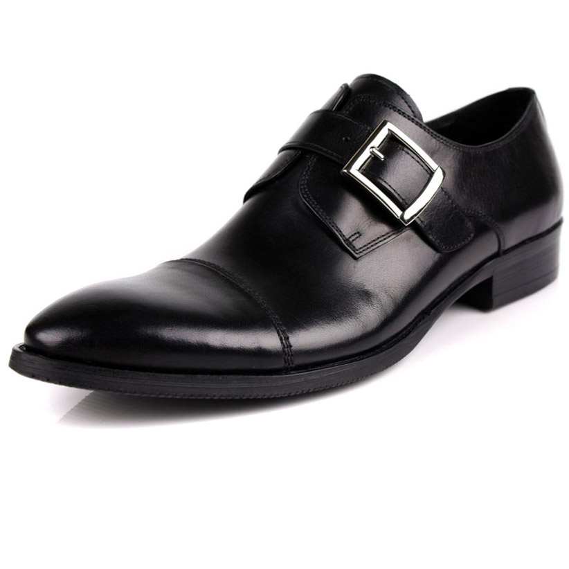 2015 New autumn winter fashion mens genuine leather shoes pointed toe dress wedding casual buckle strap oxfords derbies shoes<br><br>Aliexpress