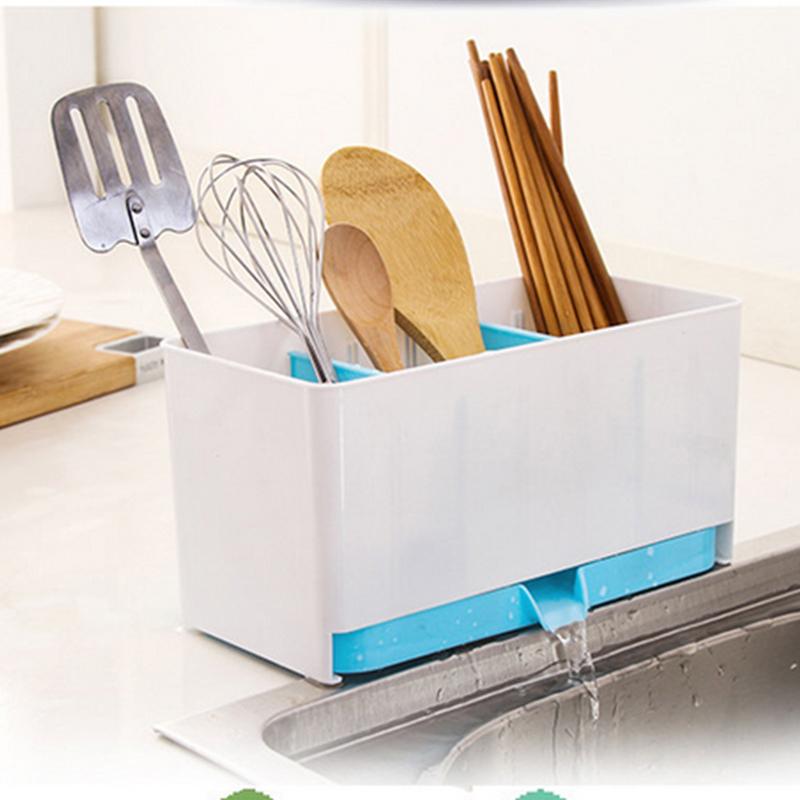 Kitchen Fast Draining Water Chopsticks Cage Spoon Storage Box Storage Rack Cutlery Sponge Holder Dish Multifunction Rack(China (Mainland))