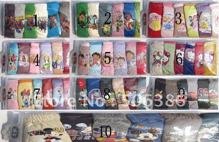 Free shipping Wholesale children underwears,famous cartoon character Underewears,Kids Underwear,girl/boy underwear(China (Mainland))