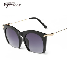 Brand half rim Sunglasses CAT EYE Sun shades lenses Half frame goggles Women Tinted Sun wear Black Party sunglass Metal 2014 new