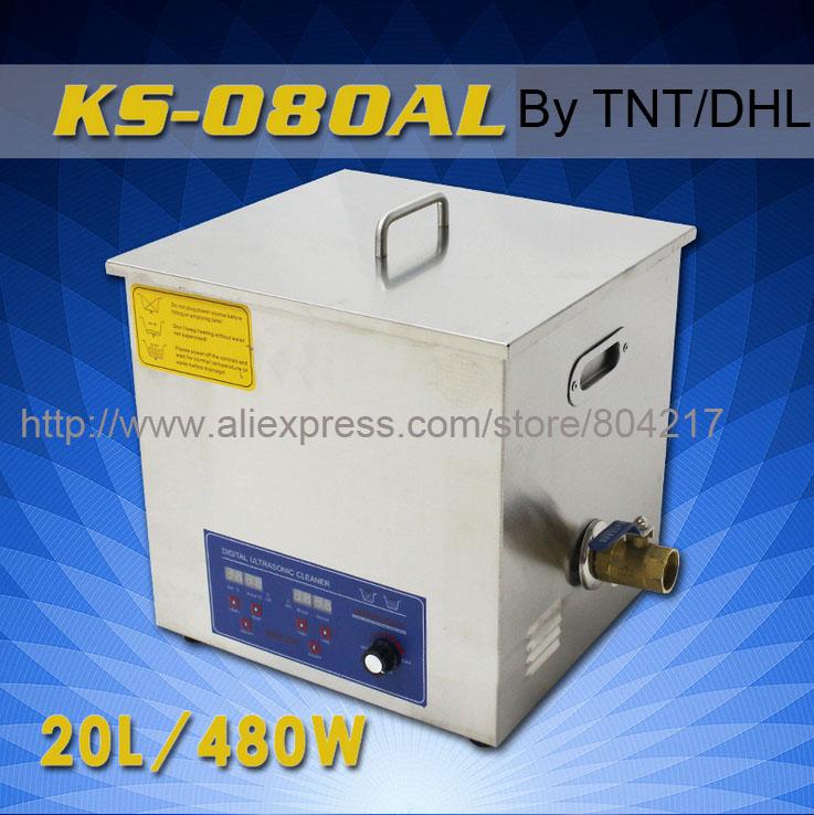 Industrial Digital Series 20L Powerful Ultrasonic Cleaner KS-080AL 480W 28-40KHz Ultrasonic Washing Machine+basket By DHL TNT(China (Mainland))