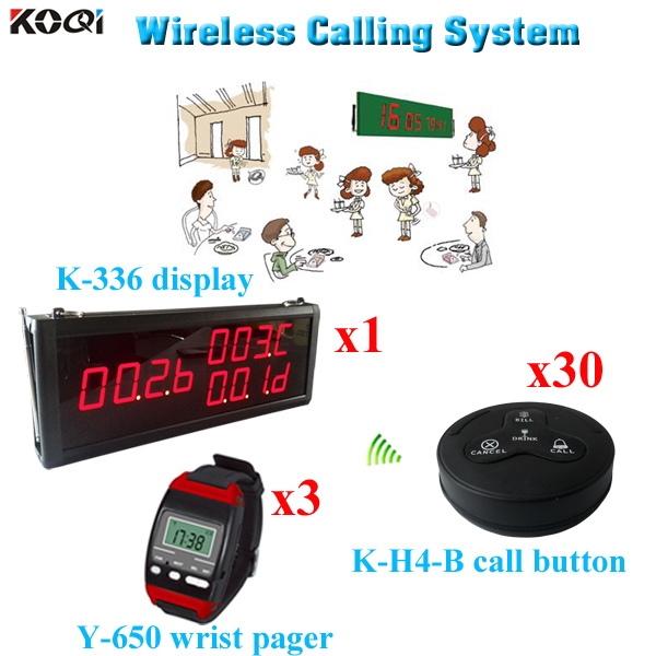 Restaurant Guest Paging System In Time Delivery Restaurant Equipment For Sale(1 display 3 wrist watch 30 call button)(China (Mainland))