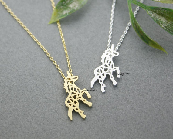 Beautiful Unicorn Necklace in silver gold.jpg