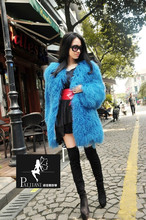 Best selling Famous Brand Long design Plush Thickeing Genuine Lamb Fur Jacket outerwear  Real Mongolian sheep fur Coat winter