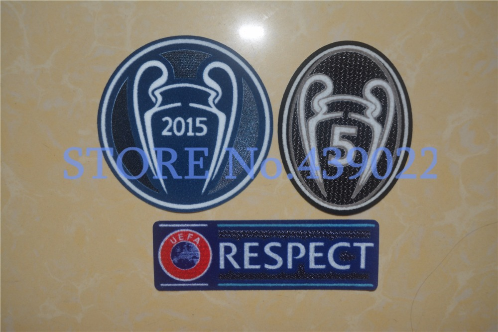 Wholesale 2015 UEFA Champions League 5 Trophy Patch Barcelona UEFA Patch Liverpool Soccer Patch Bayern Munchen Soccer Badges(China (Mainland))